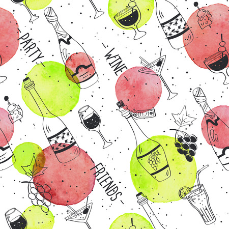spot the difference: Drinks doodle pattern. Hand drawn beverages seamless background. Doodle snacks and drinks  with watercolor colorful spots. Beverages, glass, bottles, grapes, snacks. Wine, friend, party.