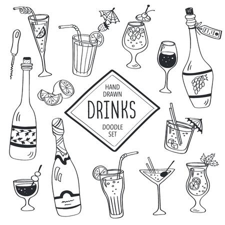 cocteles: Bebidas Doodle conjunto. Dibujado a mano cócteles iconos aislados sobre fondo blanco. Colección bebidas Doodle. Botellas de cristal, cócteles. Agua, vino y zumo.
