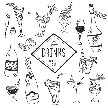 drinks: Drinks doodle set. Hand drawn cocktails icons isolated on white background. Doodle beverages collection. Bottles, glass, cocktails. Water, wine and juice.