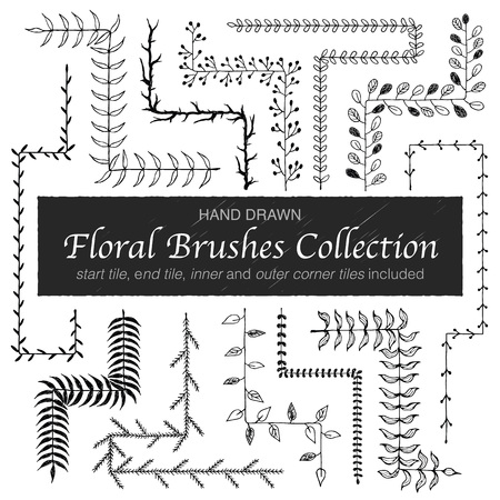 simple border: Hand drawn vintage floral brushes. Branch and leaf brushes for wedding invitation, greeting cards and postcard design. Border, divider, wreath. Modern ornamental brushes with outer and inner corners. Illustration