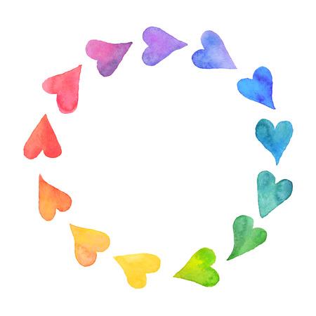 corazones azules: Corazones Acuarela diseño elemento. Marco colorido de los corazones de la acuarela. Colorido de la acuarela plantilla de tarjeta romántica. Arco iris forma de círculo dibujado con pinturas.