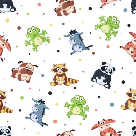 burro: Modelo incons�til con los juguetes de peluche. Fondo lindo de los animales de dibujos animados. Panda, perro, mapache, rana, vaca, burro