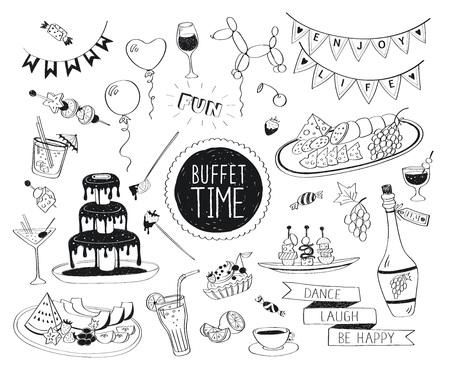 Buffet doodle partie réglé. Boissons dessinés à la main icônes isolé sur fond blanc. Nourriture et des boissons Doodle. Fontaine de chocolat, fruits, bouteille, thé, café, collations. Banque d'images - 45852730