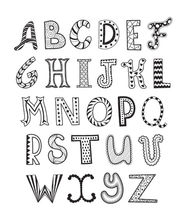 Hand drawn artistic letters set. Handdrawn doodle alphabet. Unique zentagle letters collection.