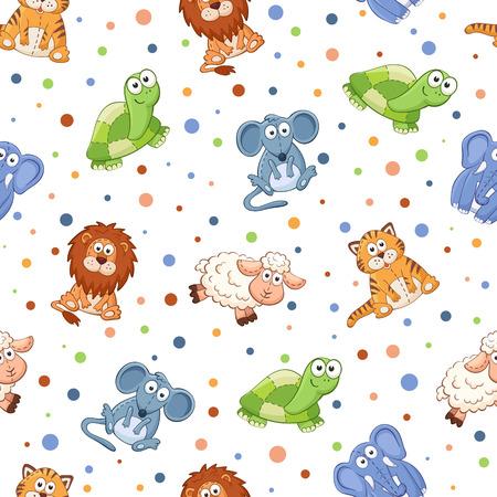 Seamless avec des jouets en peluche. Mignon animaux de dessin animé fond. Chat, lion, souris, éléphants, tortues, moutons. Banque d'images - 45852741
