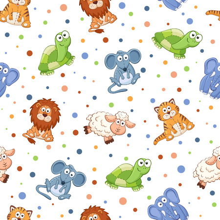 drawing on the fabric: Seamless pattern with stuffed toys. Cute cartoon animals background. Cat, lion, mouse, elephant, turtle, sheep.