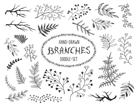 Hand drawn branches collection. Set of inc doodle branches isolated on white background. Floral decorative elements for postcard and invitation design.