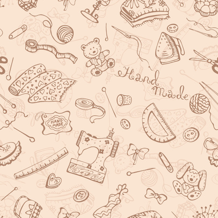 Hobby background. Handmade items seamless pattern.