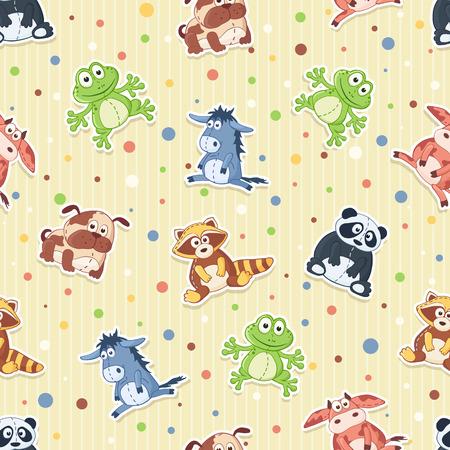 burro: Modelo inconsútil con los juguetes de peluche. Fondo lindo de los animales de dibujos animados. Panda, perro, mapache, rana, vaca, burro