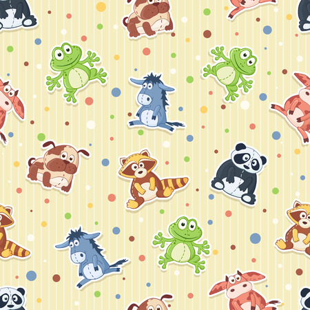Seamless pattern with stuffed toys. Cute cartoon animals background. Panda, dog, raccoon, frog, cow, donkey Illustration