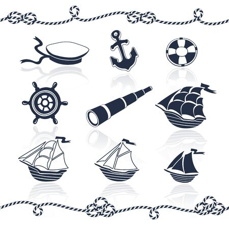 spyglass: Sea objects set. Marine vector collection. Ships, anchor, ropes, spyglass, wheel, sailor hat, lifebuoy. Nautical elements isolated on white background. Illustration