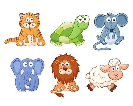 animals: Aranyos rajzfilm állatok elszigetelt fehér háttérrel. Puha játékok beállítva. Macska, oroszlán, egér, elefánt, teknős, juh.