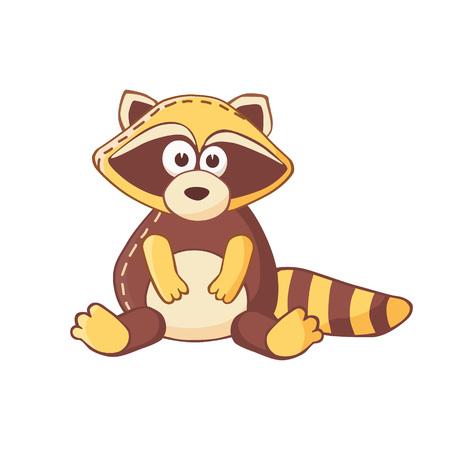 stuffed: Cartoon raccoon character. Stuffed toy.