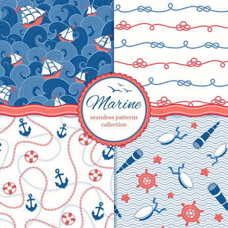 sailor: Marine vector patterns set. Ships and waves. Anchors and chains. Ropes, sailor hats, spyglasses, hand-wheels. Illustration
