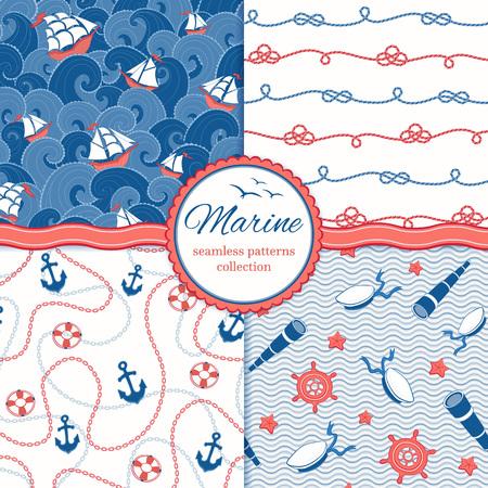 marinero: Modelos del vector marinos. Naves y ondas. Anclas y cadenas. Cuerdas, sombreros marinero, catalejos, mano-ruedas.