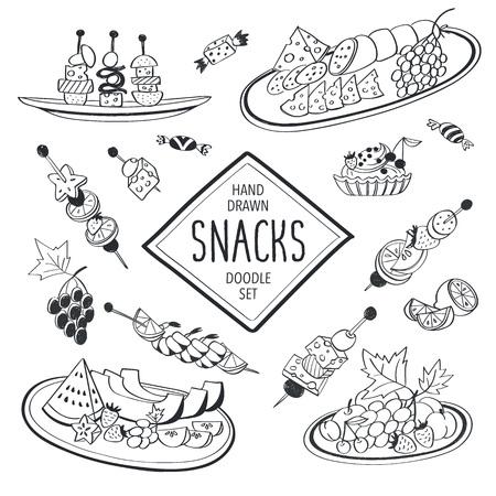cereza: Aperitivos buffet Doodle conjunto. Iconos drenados mano de alimentos aislados sobre fondo blanco. Doodle de alimentos y bebidas de la colecci�n. Queso, frutas, canap�s, tartalets. Vectores