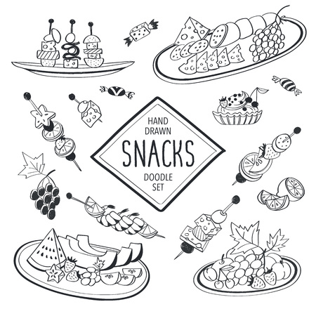Buffet snacks doodle set. Hand drawn food icons isolated on white background. Doodle food and drinks collection. Cheese, fruits, canapes, tartalets.