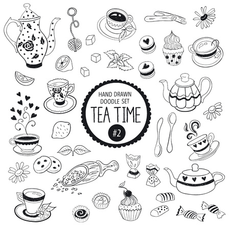 tea leaf: Doodle tea time elements collection. Vector set of tea icons. Teapots, cups, cupcakes and sweets.