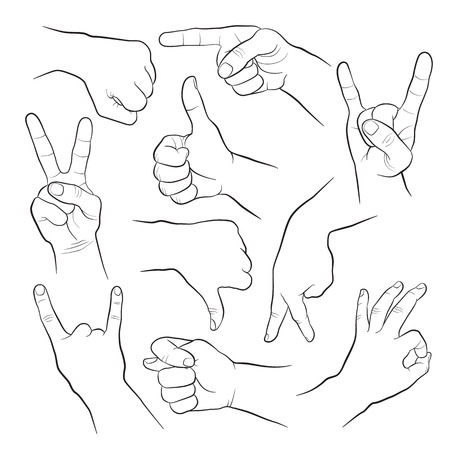 man pointing up: Human gestures. People hand signs. Man hands outline isolated on white background. Ok, thumb up, thumb down, fig, victory, pointing finger, ign of the horns.