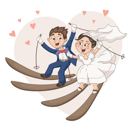 sweet couple: Romantic greeting card with cartoon bride and groom on ski. Cute wedding couple skiing in pastel colors. Fun vector illustration for wedding invitation design.