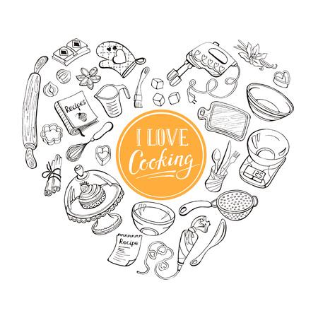 cocina caricatura: Me encanta cocinar concepto de cartel. Herramientas de la hornada en forma de corazón. Cartel con dibujados a mano los utensilios de cocina.