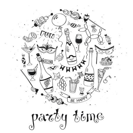 celebration: Partito concetto manifesto tempo. Concetto per inviti del partito progettazione. A mano Doodle disegnato illustrazione con bevande e snack. Celebrazione