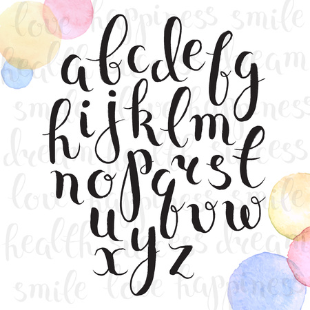 Handmade letters. Handwritten alphabet with watercolor spots on background. Hand drawn calligraphy. Modern inc typography. Illustration