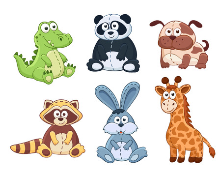 Cute cartoon animals isolated on white background. Stuffed toys set. Vector illustration of adorable plush baby animals. Crocodile, panda, dog, raccoon, bunny, giraffe.