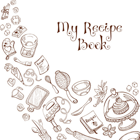 Baking utensils in doodle style. My recipe book. Cafe and restaurant menu design concept. Vettoriali
