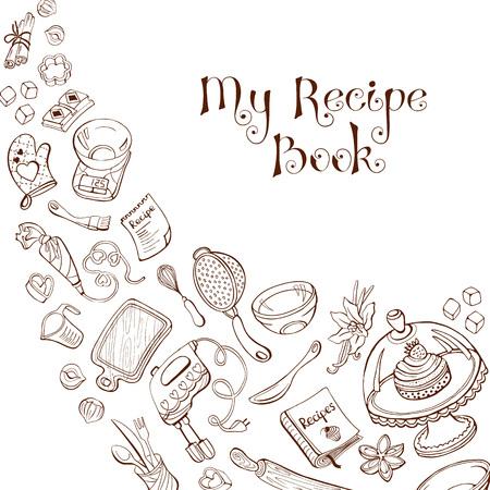 La cuisson des ustensiles de style doodle. Mon livre de recettes. Café et le concept de conception de menu de restaurant. Banque d'images - 47489459