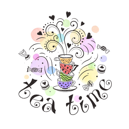 お茶時間のポスターのコンセプトです。ティー パーティーのカード デザイン。ティーポット、カップ、お菓子に描かれた落書きイラストを手します
