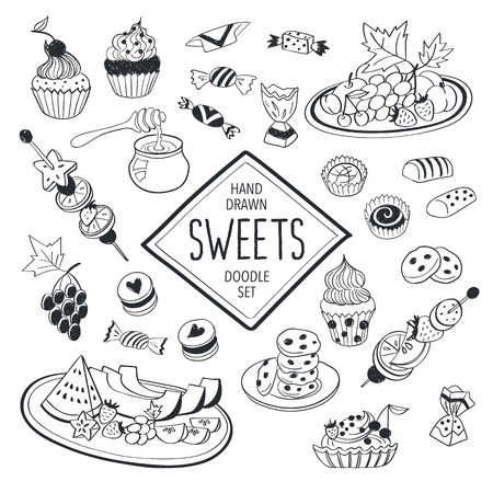 dessert buffet: Sweets doodle set. Hand drawn food icons isolated on white background. Doodle fruits, cookies and candies collection. Handdrawn elements for cafe and restaurant menu design.