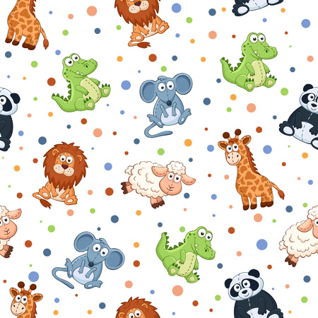 black sheep: Seamless pattern with stuffed toys. Cute cartoon animals background. Cat, lion, mouse, elephant, turtle, sheep.