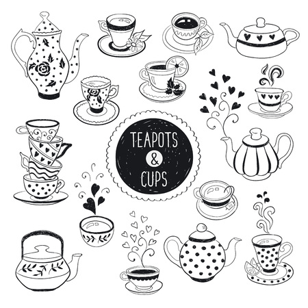 Hand drawn teapot and cup collection. Doodle tea cups, coffee cups and teapots isolated on white background. Vector illustration on tea time icons for cafe and restaurant menu design. Vettoriali