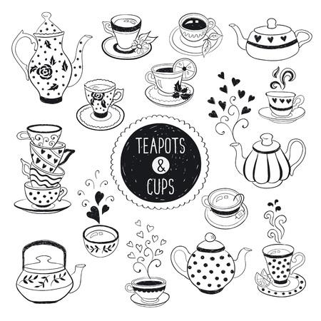 tazza di th�: Teiera disegnata a mano e la raccolta tazza. Tazze di t� di Doodle, tazze di caff� e teiere isolato su sfondo bianco. Illustrazione vettoriale su t� tempo icone per il design bar e ristorante menu. Vettoriali