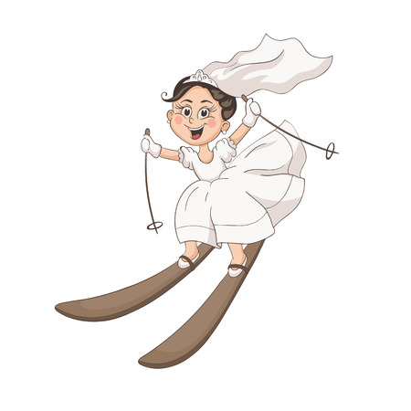 Cute cartoon bride on ski isolated on white background. Fun vector illustration of happy girl skiing in white dress. Lovely wedding character in pastel colors.