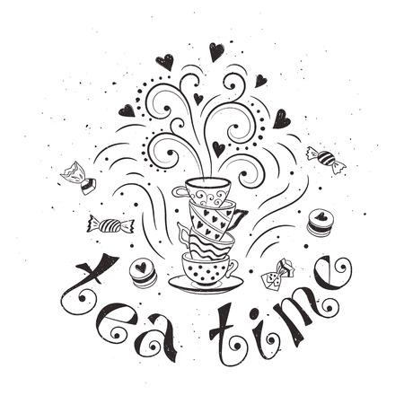 Temps de concept de l'affiche de thé. Conception de carte de Tea Party. Main doodle illustration tirée avec théières, tasses et des bonbons. Banque d'images - 47489576