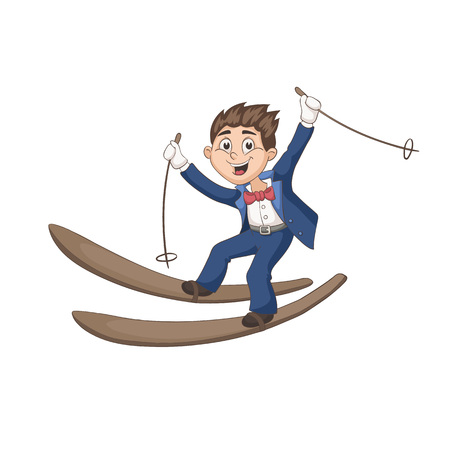 marriage cartoon: Cute cartoon groom on ski isolated on white background. Fun vector illustration of happy boy skiing in tuxedo. Lovely wedding character in pastel colors. Illustration