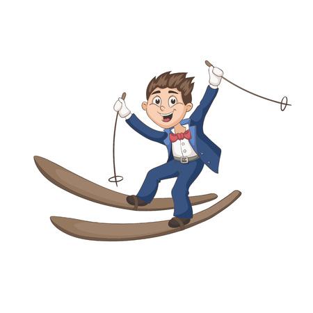 narciarz: Cute cartoon oczyszczenie na narty na białym tle. Zabawa ilustracji wektorowych szczęśliwy chłopiec na nartach w smokingu. Piękny charakter ślub w pastelowych kolorach.