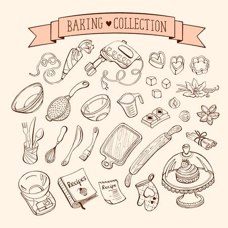 Le bicarbonate de collection d'éléments de style de griffonnage. Dessinés à la main des outils de cuisine réglés.