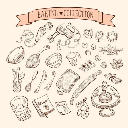 kitchen illustration: Baking items collection in doodle style. Hand drawn kitchen tools set.