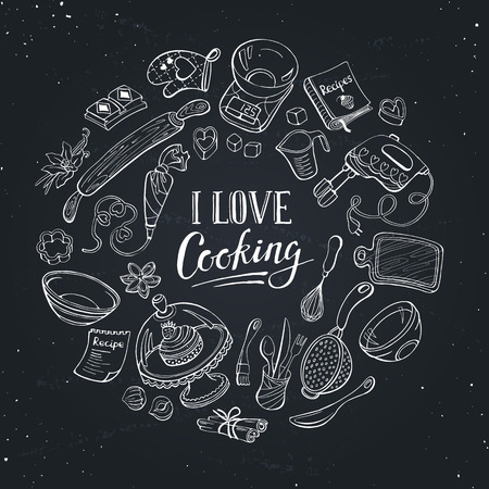 I love cooking poster.  Baking tools in circle shape. Poster with kitchen utensils hand drawn on chalk board. Ilustração