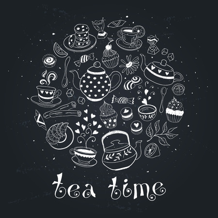 Tea time poster concept. Coffee party card design. Hand drawn doodle illustration with teapots, cups and sweets. Hand drawn tea elements on chalkboard.