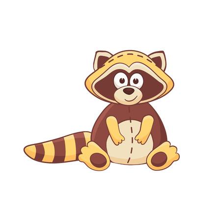 stuffed: Cute cartoon animal. Stuffed raccoon. Vector plush toy isolated on white background.