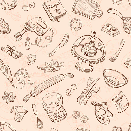 Baking doodle background. Vector seamless pattern with kitchen tools. Hand drawn baking utensils. Ilustrace
