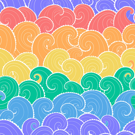 Nautical seamless pattern. Colorful waves background. Cartoon sea pattern in rainbow colors. Vettoriali