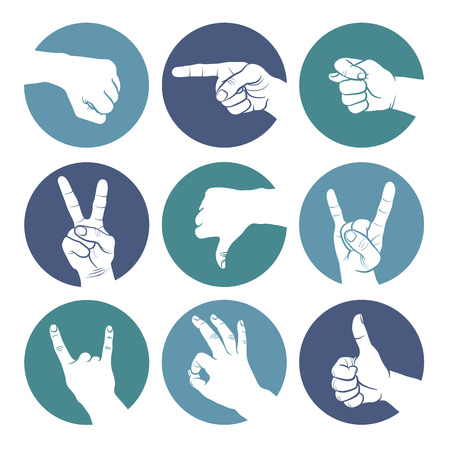 Human gestures icons. People hand signs. Man hands outline isolated on white background. Ok, thumb up, thumb down, fig, victory, pointing finger, sign of the horns.