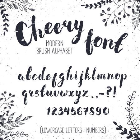 calligraphie arabe: lettres à la main. alphabet manuscrite Cheery d'éléments floraux sur fond. Hand drawn calligraphie. Moderne typographie inc.