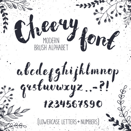 Handmade letters. Cheery handwritten alphabet with floral elements on background. Hand drawn calligraphy. Modern inc typography.