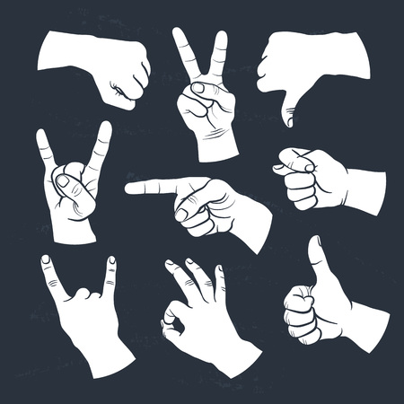 finger nails: Human gestures icons. People hand signs.  Illustration
